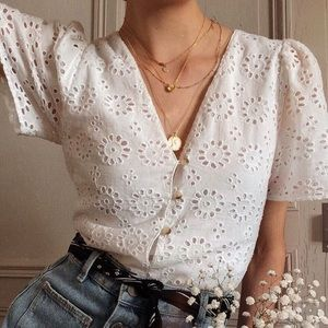 Zara TRF Eyelet peplum shirt